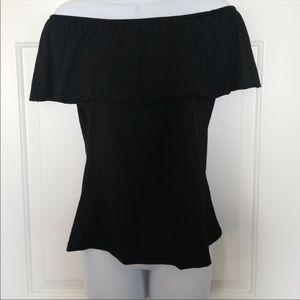 Off the shoulder black shirt